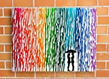 Lesbian Wedding Gift, Rainbow Melted Crayon Art, Gifts For Lesbian Couple, In The Rain Painting 16x20''