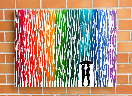 Lesbian Wedding Gift, Rainbow Melted Crayon Art, Gifts For Lesbian Couple, In The Rain Painting 16x20'' by Fem By Design
