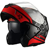 Triangle Motorcycle Helmet Modular Dual Visor Flip Up [ DOT ] Matte Black Red