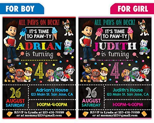 Custom Paw Patrol Birthday Party Invitations For Boy Or Girl 10pc 60pc 4x6 5x7 Cards With White Envelopes Printed On Premium 265gsm Card