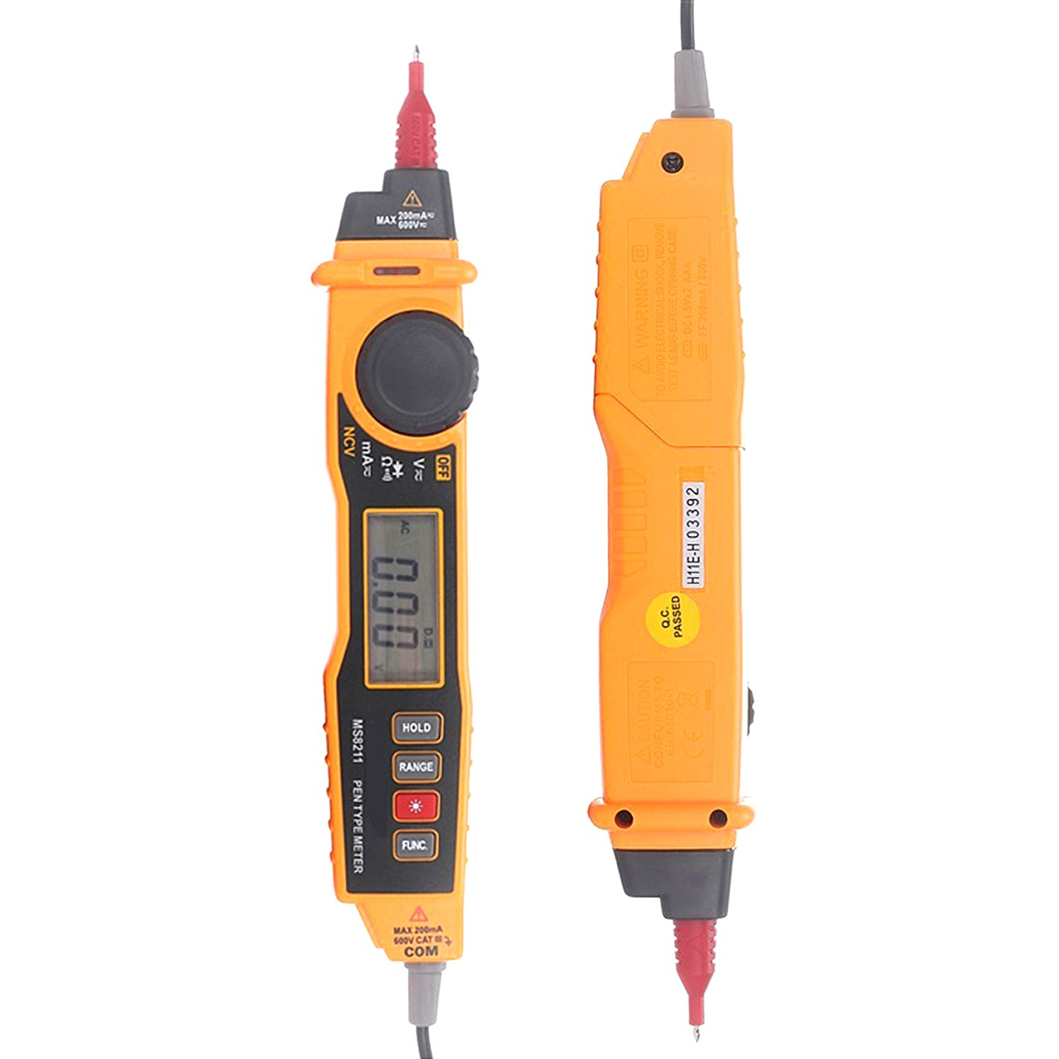 CarBoss MS8211 2000 Counts Pen Type Digital Probe Multimeter with NCV Detector Non-contact AC DC Voltage Current Auto and Manual Ranging Data Hold Electric Ammeter Voltage Tester Multitester