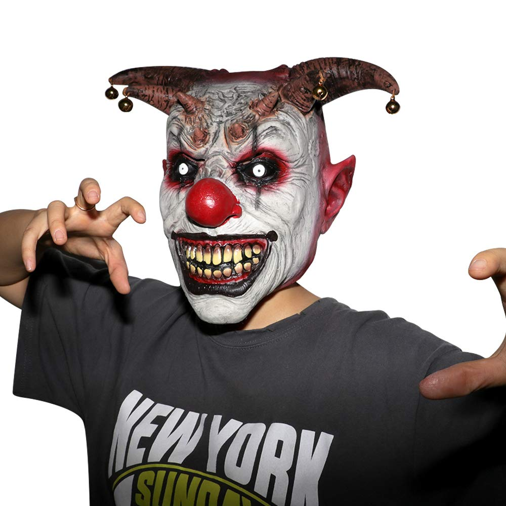XIAO MO GU Halloween Clown Mask Jingle Jangle Scary Clown Mask Halloween Party Costume Decorations
