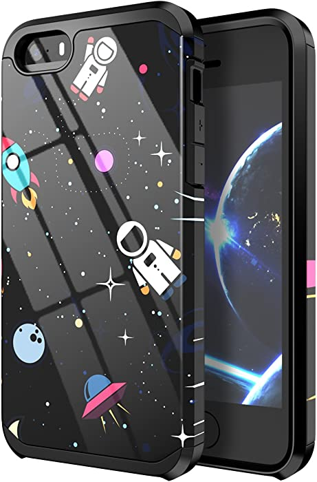 PBRO iPhone 5 Case,iPhone 5s Case,iPhone SE(2016) Case Cute Astronaut Case Dual Layer Soft Silicone & Hard Back Cover PC+TPU Protective Shockproof Case for Apple iPhone 5/5s/SE Space/Black
