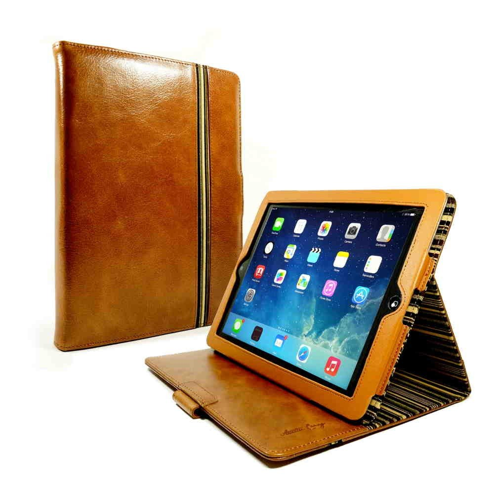 Alston Craig Vintage Genuine Leather Slim-Stand Case Cover for Apple iPad Air 2 (Sleep Function & Nfc Tag) - Brown
