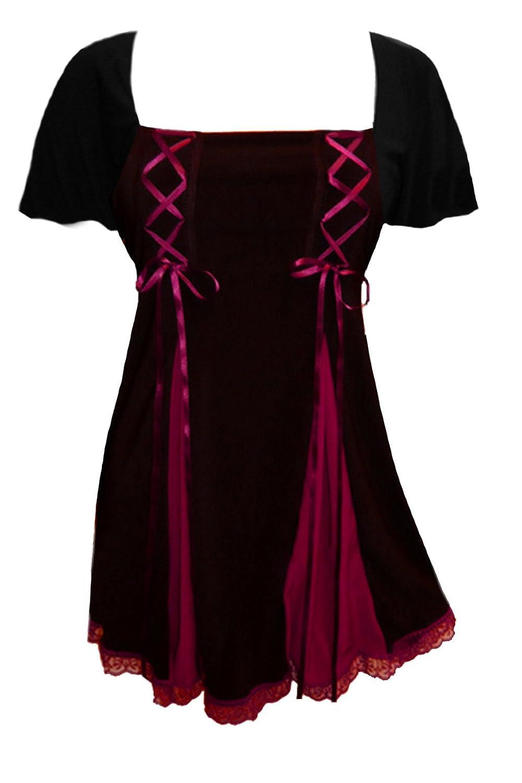 Dare to Wear Victorian Gothic Boho Women's Plus Size Gemini Princess S/S Corset Top SC12
