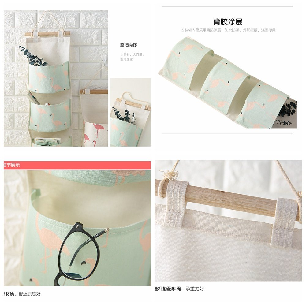 Wall Storage Bag Hanging Bag Bedroom/Bed Head Multi-Layer Wall Hanging Fabric Large Capacity Storage Bag, A