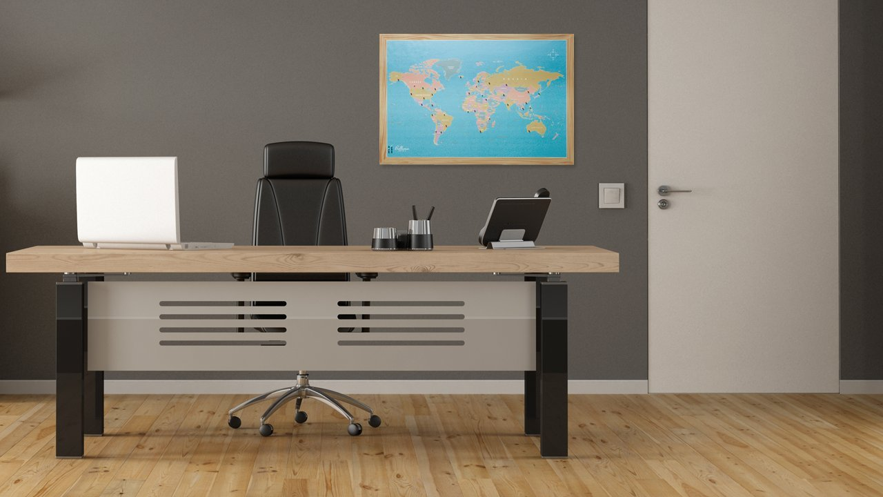 Bullseye Office - 2'x3' Magnetic World Map With Pins, Includes 40 Magnetic Map Pins - Ideal World Map For Travelers and for World Map Travel by Bullseye Office