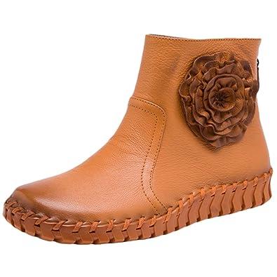 dcda0a026894bd MatchLife Damen Vintage Frühling Sommer Leder Flach Ankle Boots Style2 Gelb  EU36 CH37