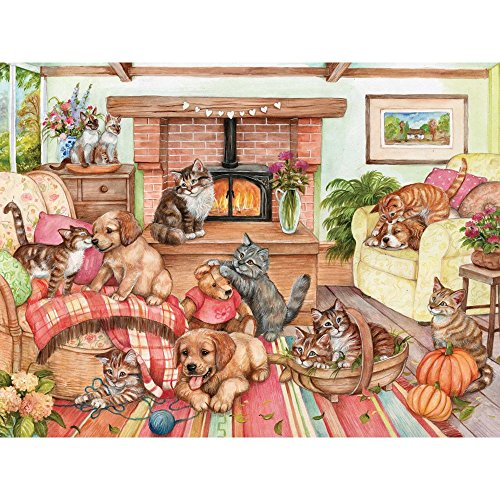 Bits and Pieces - 1000 Piece Jigsaw Puzzle for Adults - Cozy Corner - 1000 pc Cats Kittens Puppies Dogs Jigsaw by Artist Debbie Cook