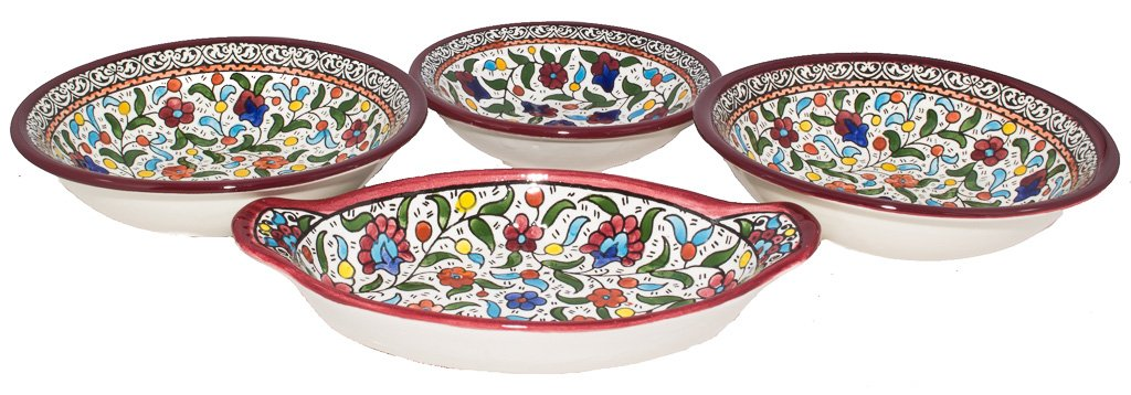 Handmade and Hand Painted Hebron Ceramic Lead Free Microwave Safe Appetizer Bowls - 4 Piece Bundle - Bowls Vary in Size Ranging From (9.2 x 1 x 5.2 inches) to (7 x 1.2 x 7 inches)