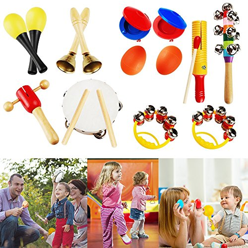 YOUDirect 10Pcs Kids Musical Instruments - Percussion Toy Set Rhythm Band Set Drum Toy Kits for Toddlers Early Childhood Gift Set