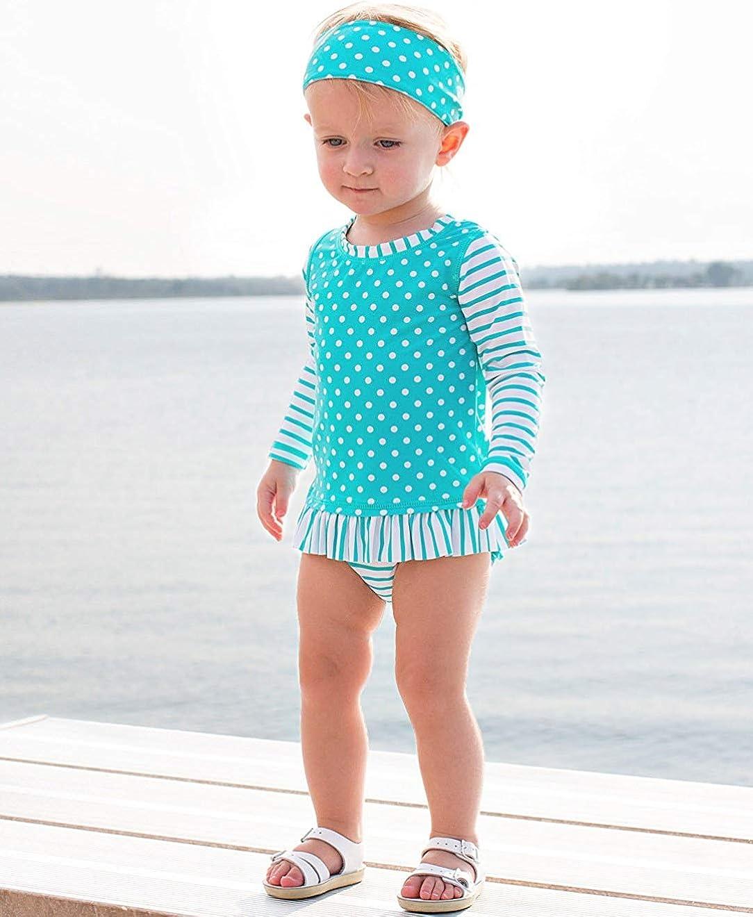 Sun Protection RuffleButts Girls Long Sleeve Rash Guard 2-Piece Swimsuit Set Stripes Polka with UPF 50