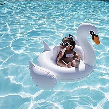 Flotador de cisne blanco circular pequeño e inflable - Ayuda en piscina para niños - bebé anillo cisne ...