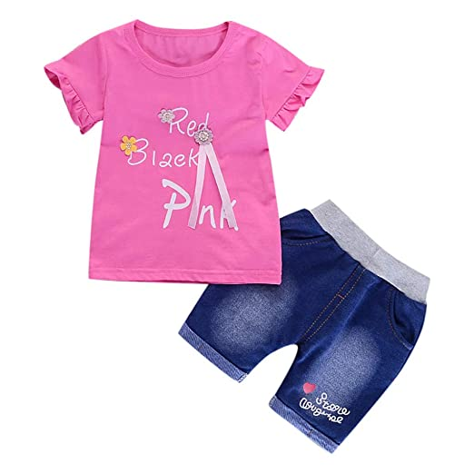 Amazon com: Baby Girl Summer Clothes Sets Cheap T Shirt Fit
