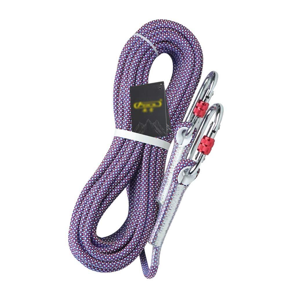 クライミングハーネス 伸縮性のある低ポリエステル屋外安全ロープ、直径14mmの落下保護ロープ、耐光速酸および耐アルカリ耐摩耗性空中作業用ロープ、二重層耐摩耗性のしっかりと編まれた安全ロープ (Color : 青, Size : 14mm-100m) 青 14mm-100m