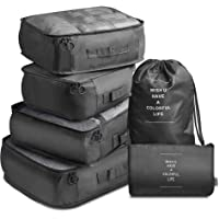 Travel Packing Cubes, VAGREEZ Lightweight Luggage Organizers Bags Set for Carry on Suitcase(Black)