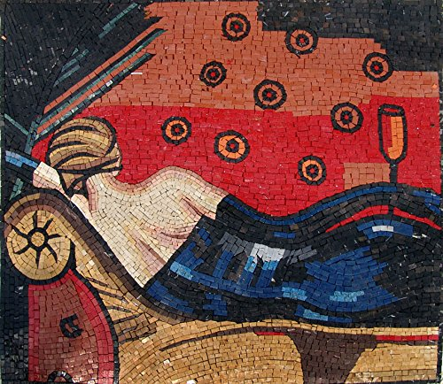 Mozaic- Laying Lady In Blue Marble and Natural Stone Mosaic Art Design MS270 by Mozaico