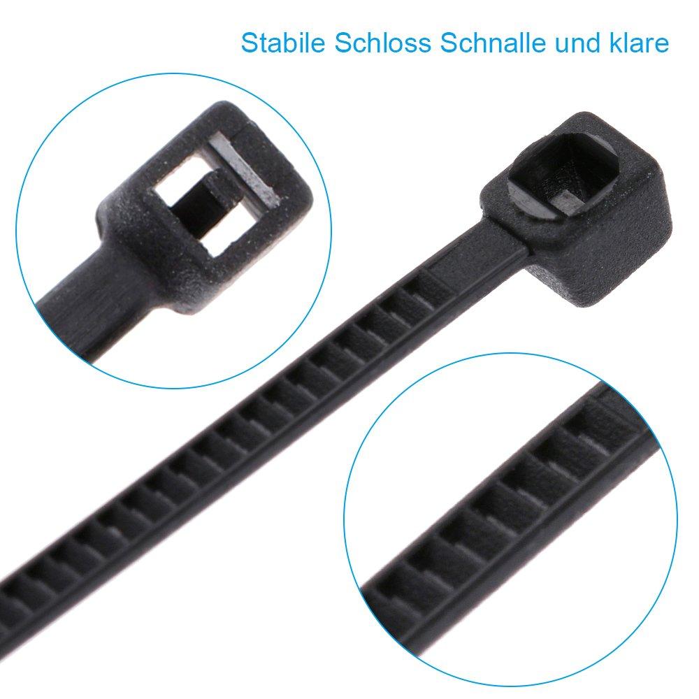 1.2cm Extrem stark Klettverschluss Kabelbinder Nylon Schwarz Faburo 50x Klett-Kabelbinder Wiederverwendbar Klettb/änder 15cm