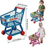 FunkyBuys Blue Kids Children Boys/Girls Shopping Trolley (SI-TY1015) Cart w/ Fruits & Vegetables Kids Play Set Toy Basket for Toy Shop Kitchen Over