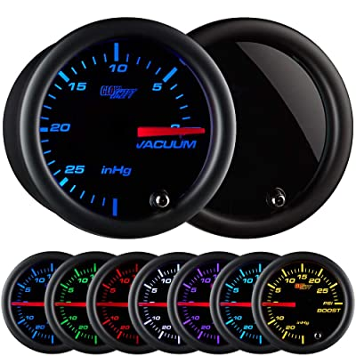 "GlowShift Tinted 7 Color Vacuum Gauge Kit - Includes Mechanical Hose & T-Fitting - Black Dial - Smoked Lens - 2-1/16"" 52mm: Automotive"