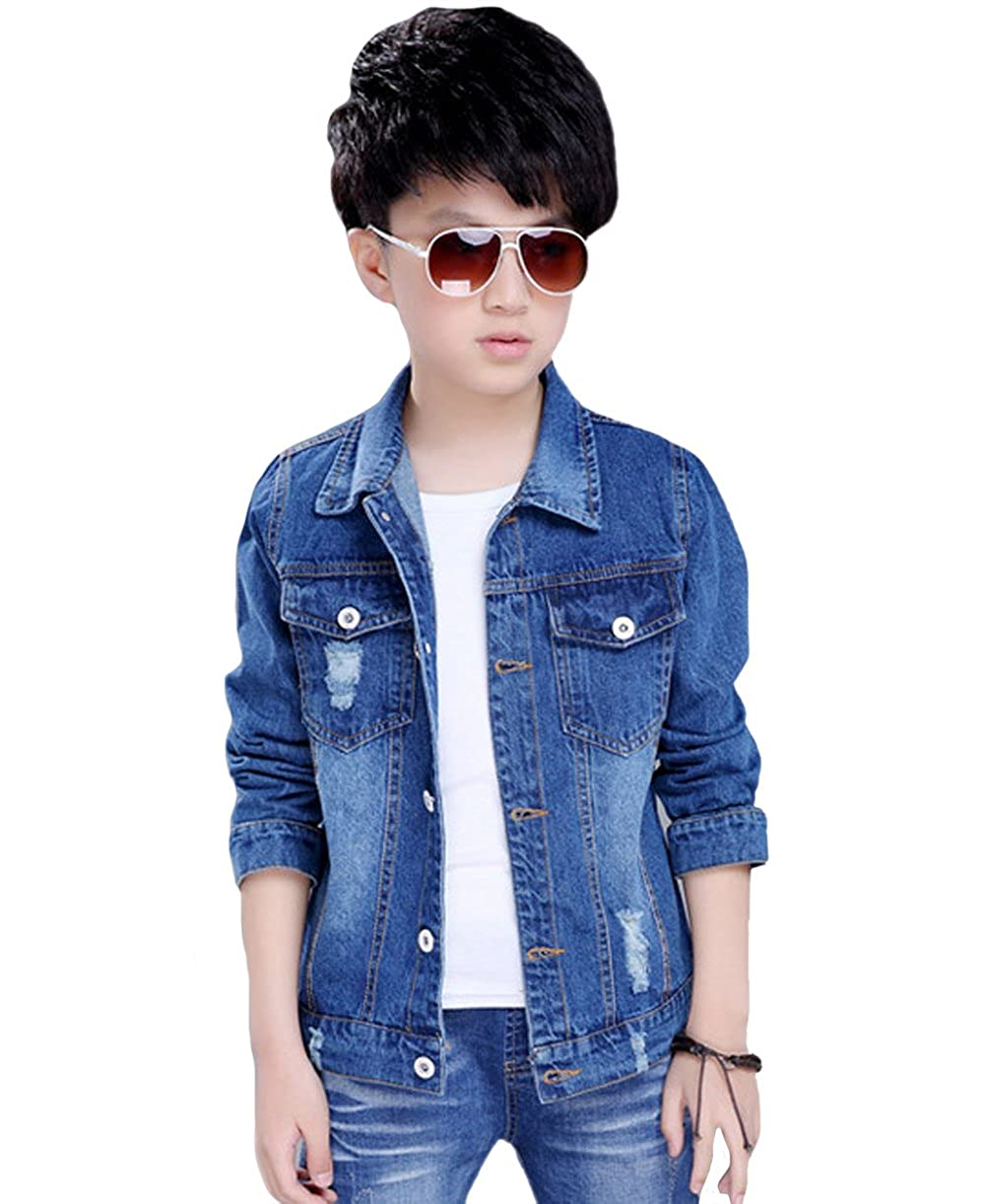 Tortor 1Bacha Kid Boys Distressed Long Sleeve Denim Jacket