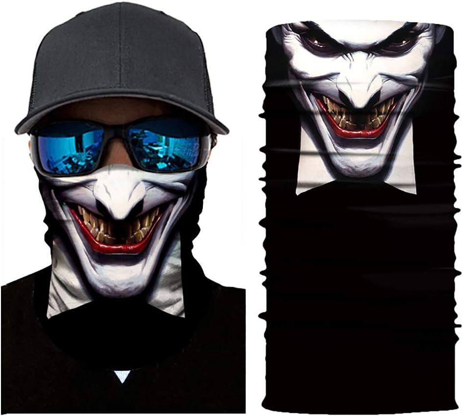 BIKITIQUE Radsport Face Masken Kopf Schal 3D Joker Sch/ädelMuster Maske Nacken w/ärmere Gesichtsmaske