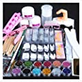 Egmy 21pcs Acrylic Powder Glitter Nail Brush False Finger Pump Nail Art Tools Kit Nail Art Equipment Set