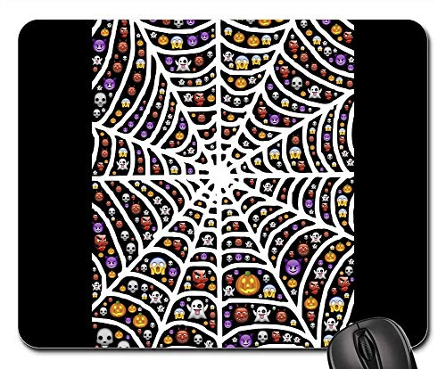 Mouse Pads - Web Spiderweb Halloween Emoji Scary Frightful -