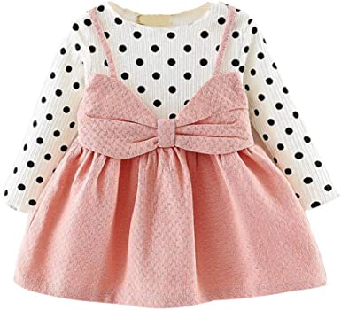 Toddler Kids Baby Girl Casual Party Stripe Dot Patchwork Strap Long Sleeve Dress