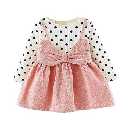 d59cda40b Tronet Kids Girls Polka Dot Skirt Long Sleeve Dot Bowknot Princess Dress  Baby A-Line