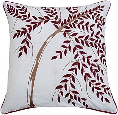 S4Sassy White Home algodón Decorativo Cojín Bordado de la Hoja de ...