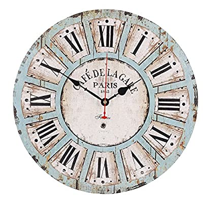 Old Oak Large Decorative Wall Clock Vintage Silent Non-Ticking Battery Operated Colorful Wooden Round for Living Room Kitchen Bathroom Bedroom Wall Decor