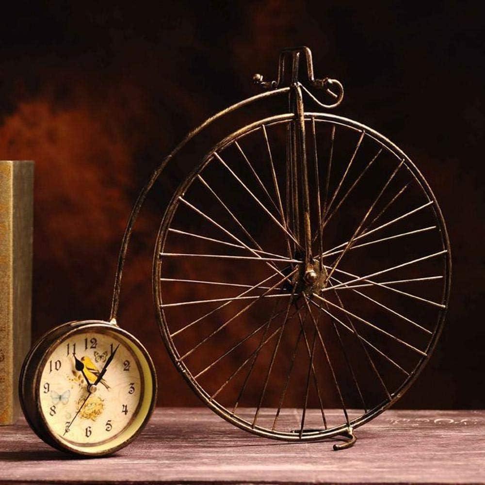 irugh Relojes de Chimenea,Hierro Antigua Bicicleta Reloj decoración Creativa artesanía 40 * 43cm