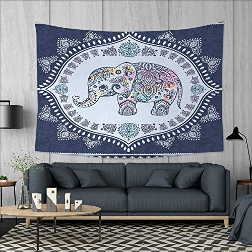 Anniutwo Ethnic Beach Throw BlanketBohemian Elephant Figure with Gypsy Inspirations Spiritual Oriental Figures Graphic Tapestry Wall Hanging 3D Printing W60 x L40 (inch) Navy Blue