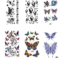 King Horse Colorful Butterfly Temporary Tattoos 6 Sheets