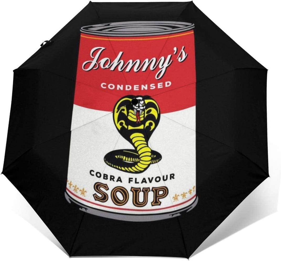 Cobra Kai Johnnys - Parasol de Viaje Plegable Compacto y Resistente al Viento, Resistente al Viento, con condensación, con Apertura automática y Cierre automático