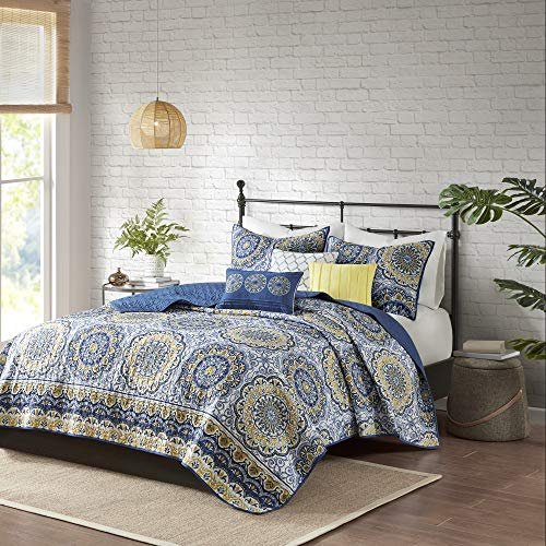 Madison Park Tangiers Coverlet&Bedspread, Full/Queen, Blue (And Gray Bedding Yellow Target)