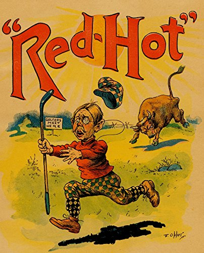 - A horned bull makes it on to te golf course and chases a golfer with checkered trousers holding a golf club but sporting a bright red shirt Poster Print (18 x 24)