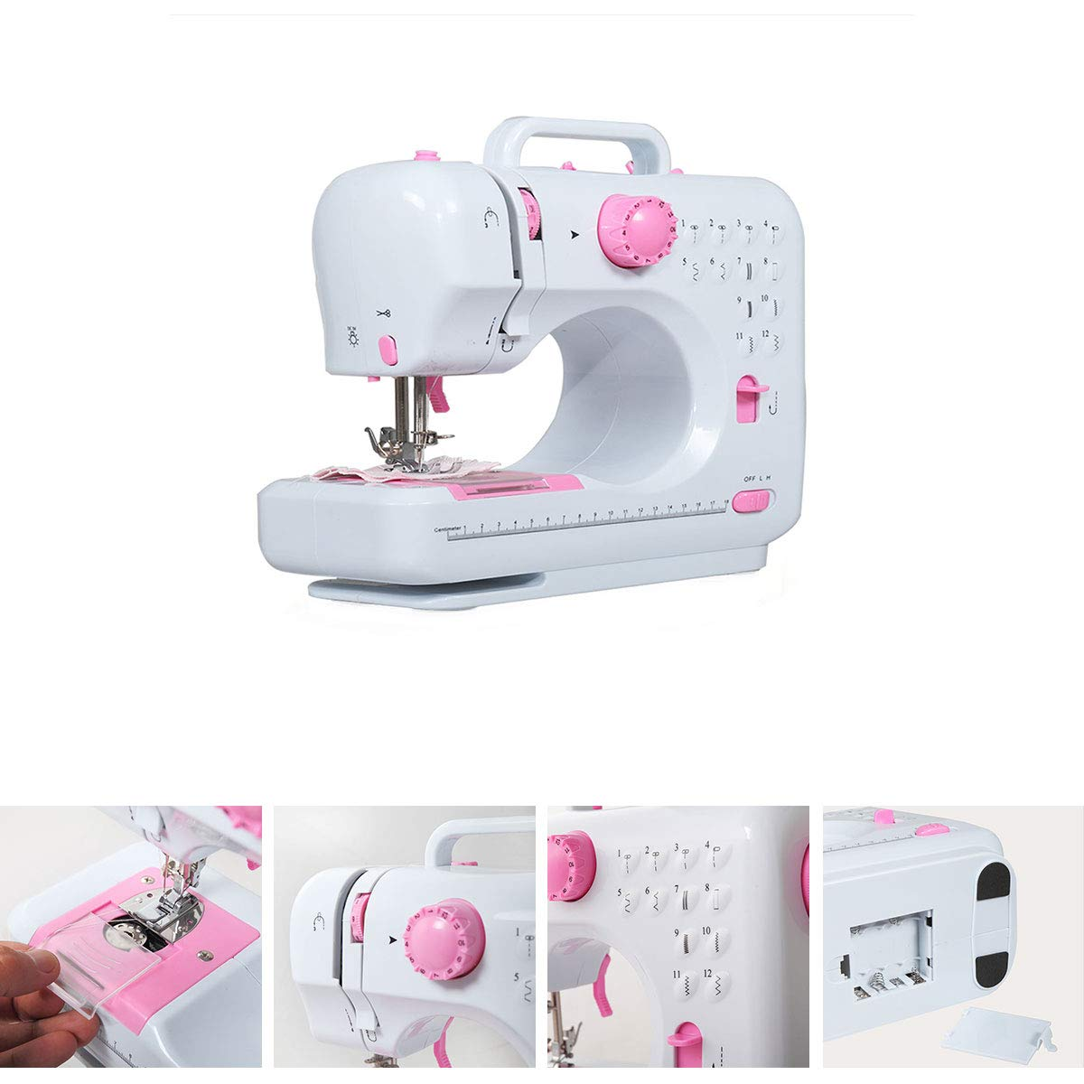 Mini Household Sewing Machine Double Speed and Thread 12 Built-in Stitches with Presser Foot Pedal Embroidery Machine