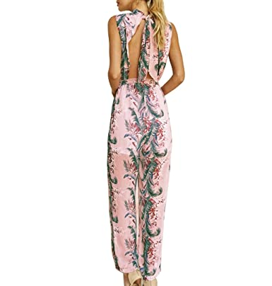 Damen Blumen Lang Overall Jumpsuit Playsuit Romper Party Clubwear Hosenanzug
