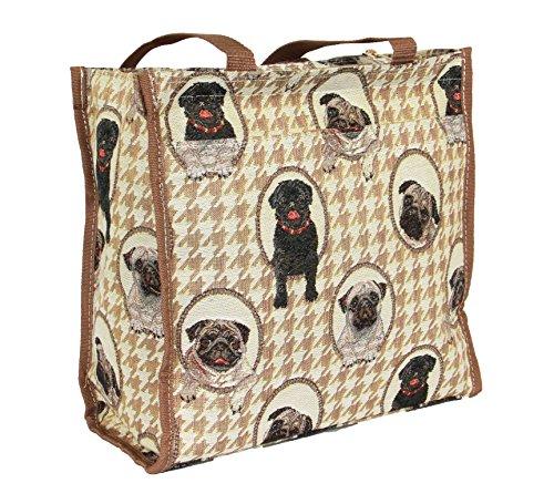 Borsa donna Signare in tessuto stile arazzo Shopping alla moda animale Pug