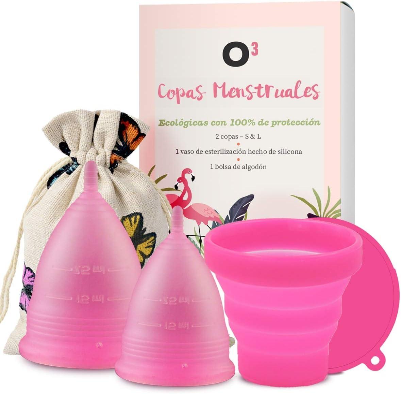 O³ Copa Menstrual Ecológica 2 Unidades - S & L - Con Esterilizador Copa Menstrual - Entrega RÁPIDA desde España - Copas Menstruales Con Bolsa de Almacenamiento: Amazon.es: Salud y cuidado personal