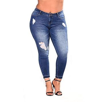 MALLTY Jeans elásticos de Las Mujeres Tallas Grandes ...