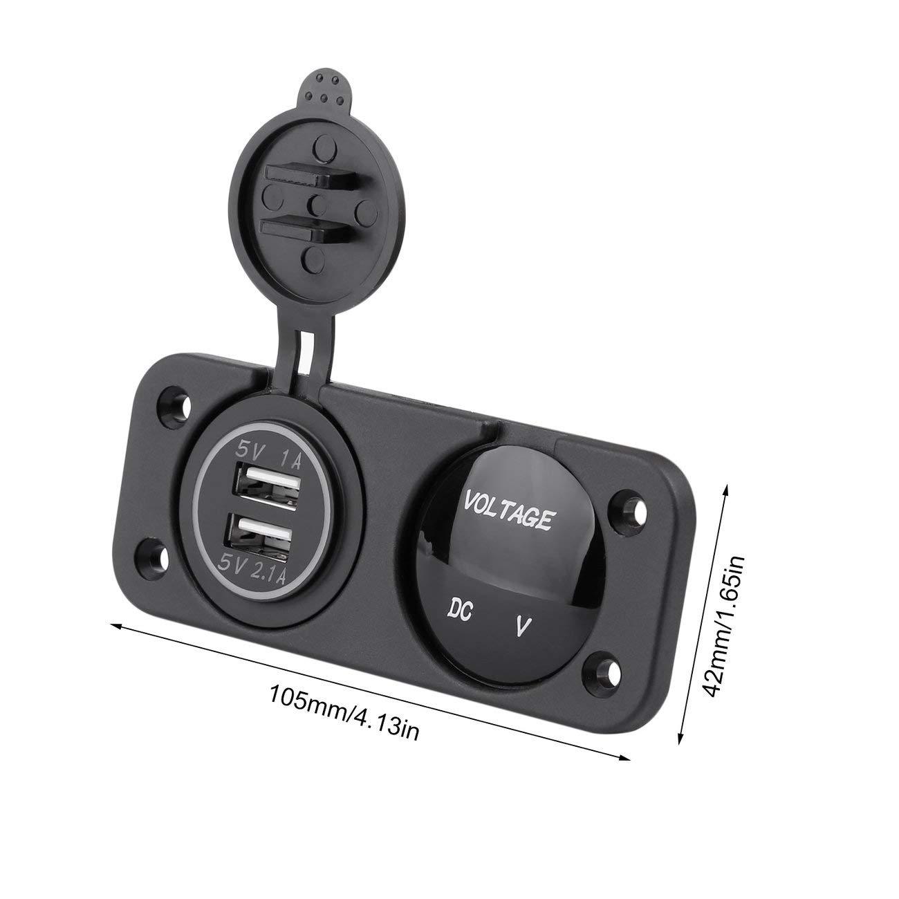 Pannello marino della barca dellautomobile di voltmetro del blu LED delladattatore dellautomobile del doppio di 12-24V USB