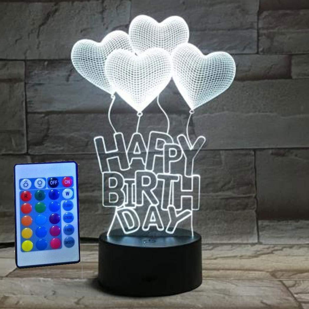 melysEU 3D Lámpara de Escritorio de 7 Colores LED Touch del Tacto USB de la Luz Divertida de la Noche Decoración Casera (Blanco-Luz Blanca+Luz Cálida+Luz Blanca Cálida)