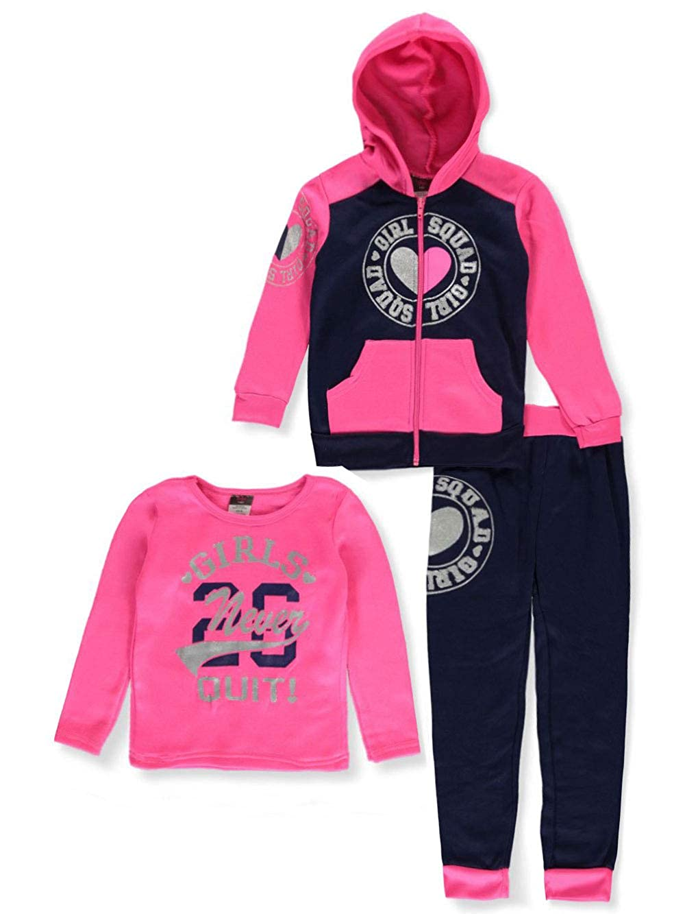 Pink//Navy 4t Angel Face Toddler Toddler Never Quit 3-Piece Pants Set Outfit