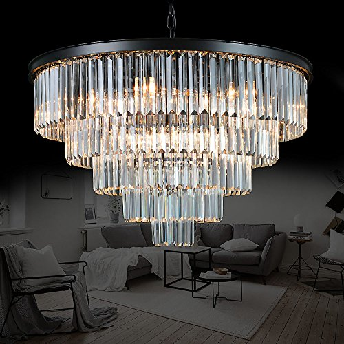 Meelighting Luxury Modern Crystal Chandeliers Lighting Contemporary Pendant Chandelier Ceiling Lamp Lights Fixture 5-Tier (16 Lights) for Dining Room Living Room (Tiers Round Chandelier)