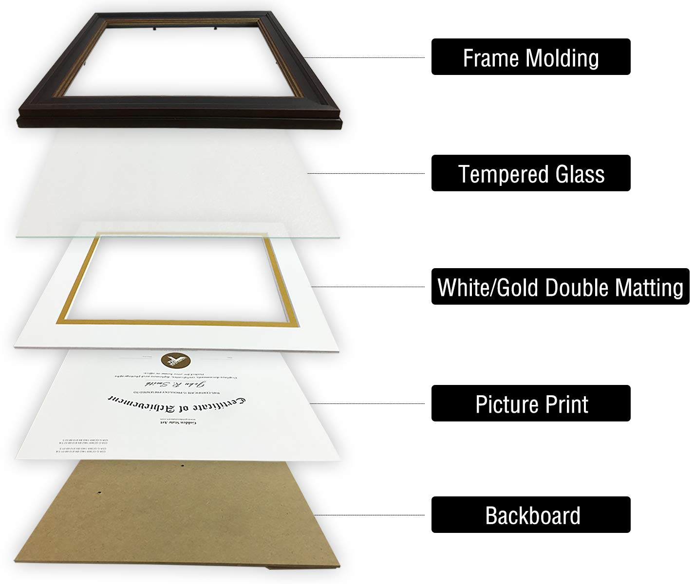 Black Gold /& Burgundy Color Includes White Over Gold Double Mat Real Glass /& Table-top Display 8x10 Frame for 6x8 Diploma//Certificate Golden State Art