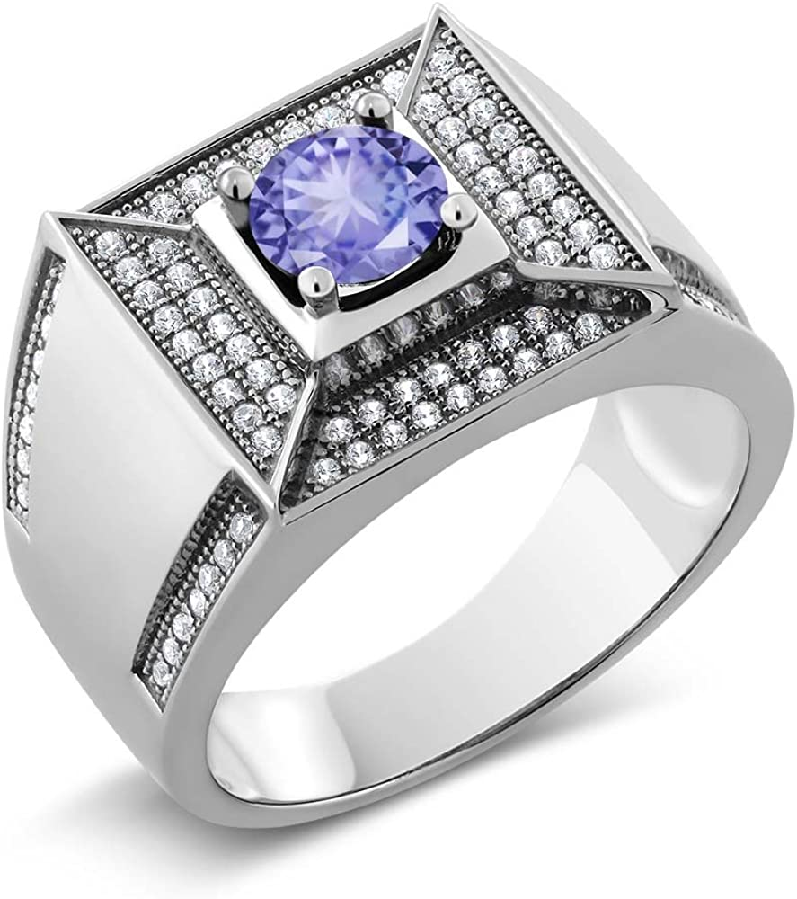 Gem Stone King 2.00 Ct Round Blue Tanzanite 925 Sterling Silver Mens Ring Available 7,8,9,10,11,12,13