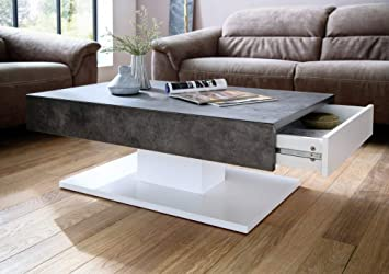 Groovy Modanuvo Modern Coffee Table White Grey Concrete Stone With 2 Storage Drawers Cjindustries Chair Design For Home Cjindustriesco